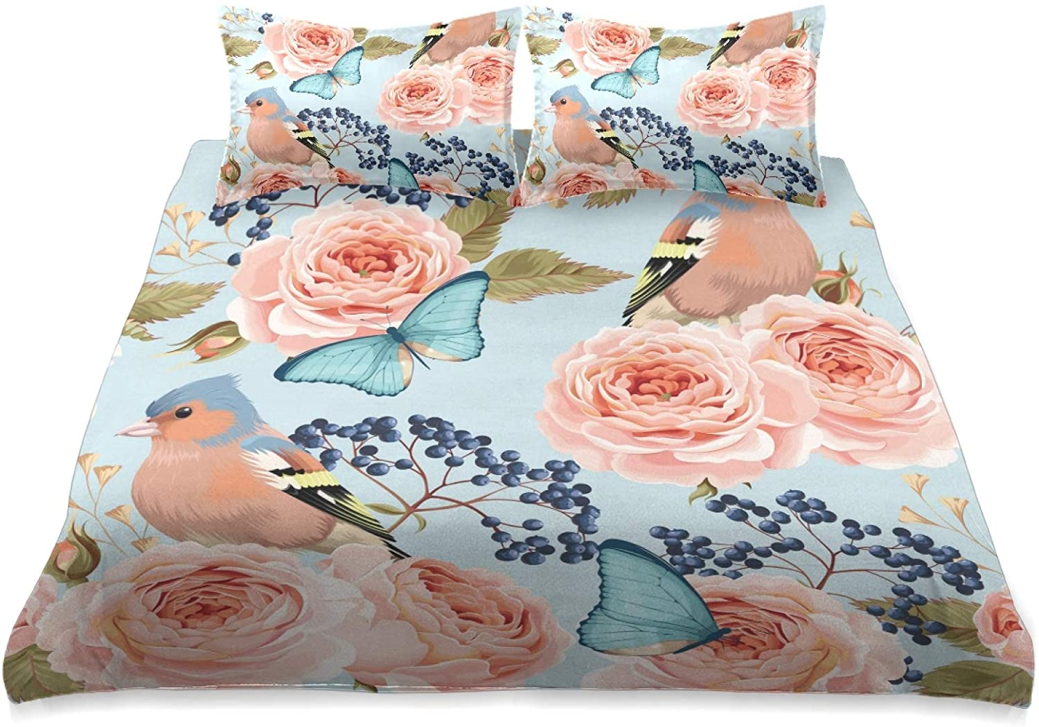 Pac Mac King Comforter Set Cover Floral Flower Rose Butterfly Bird Washed Duvet Cover King Size Set -1x King Size Bedding Comforter Cover & 2 x Pillow Cases
