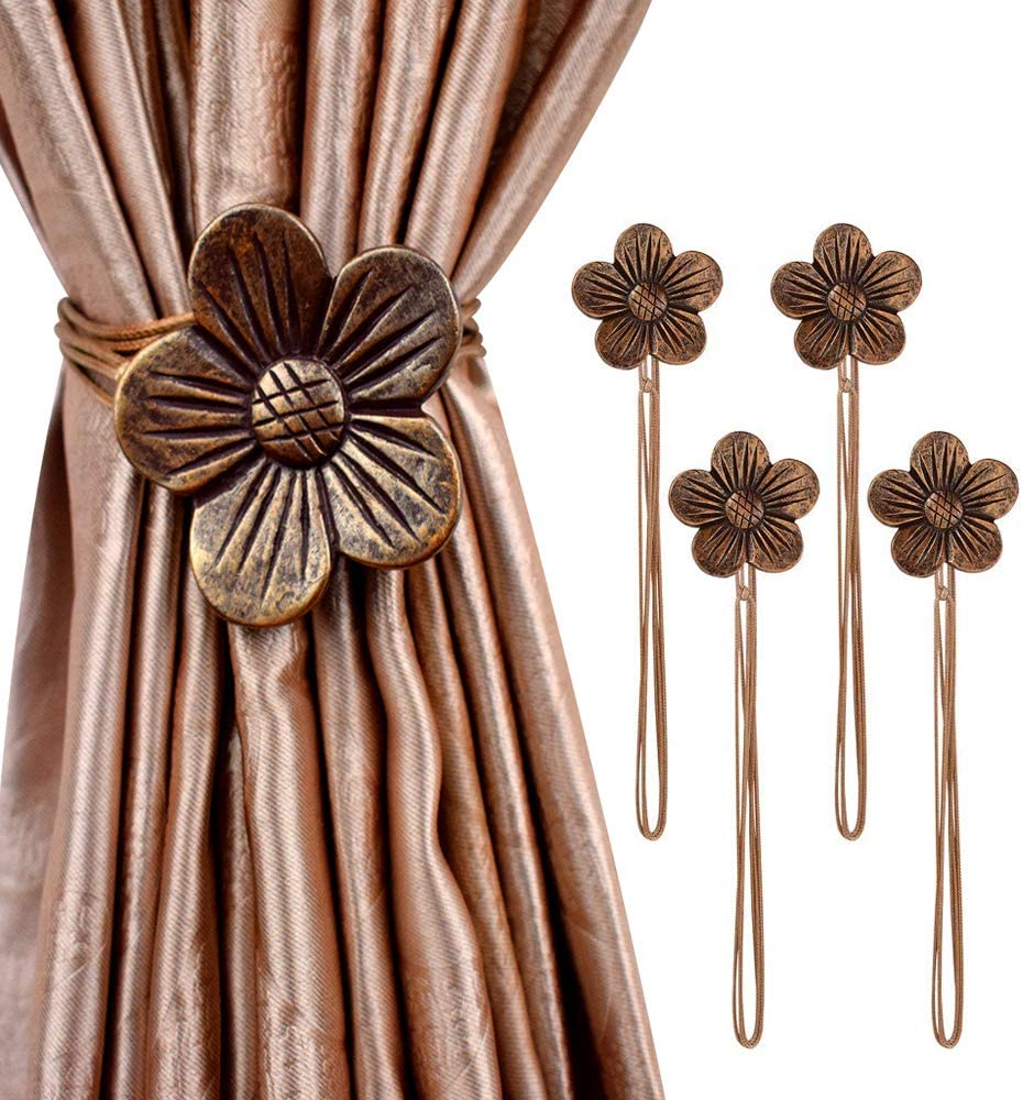 Cdycam Vintage Magnetic Curtain Tieback, Resin Flower Curtain Drapery Holdback Window Magnetic Tiebacks Ropes Artistic for Home Cafe Balcony (coffee4)