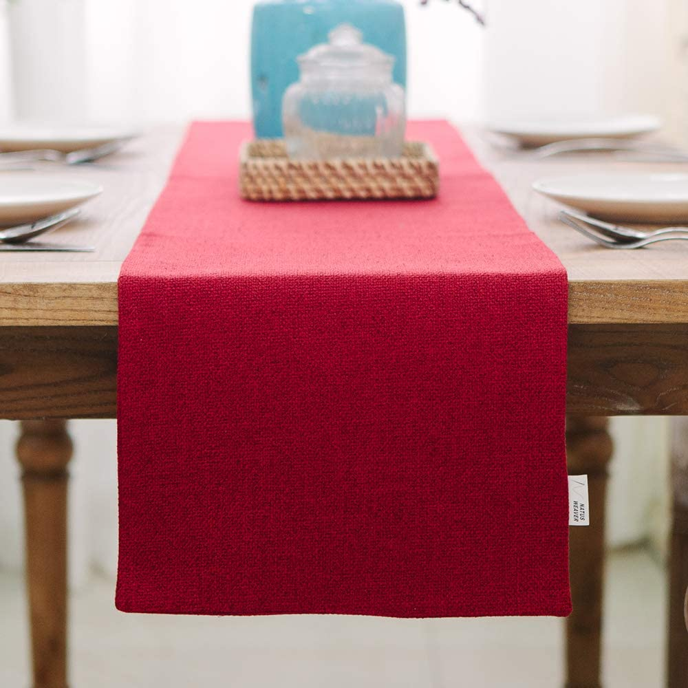 NATUS WEAVER Soft Caddice Faux Linen Table Runner 2 Side for Family Dinners or Gatherings, Indoor or Outdoor Parties, Everyday Use (12 x 72, Seats 4-6 People), Burgundy