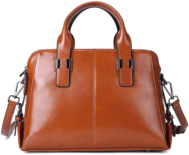 Genuine Leather Handbag for Women Top Handle Satchel Bag Ladies Purses Work Bags