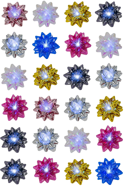 Festive Flashing Color Changing LED Acrylic 12 x 8.5 Decorative Gift-Wrap Bows, 24 Piece Set