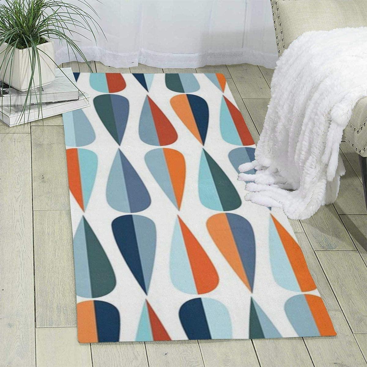 Mid Century Modern Retro with Drop Shapes Printed Area Rug Hallway Runner Rug Living Room Rugs Carpet Entry Rugs Room Bedroom Rug,70'' X 24''