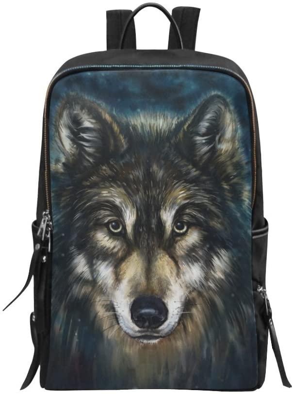 Bag Wolf Head Animal Painting Backpack Daypack Backpack Daypack