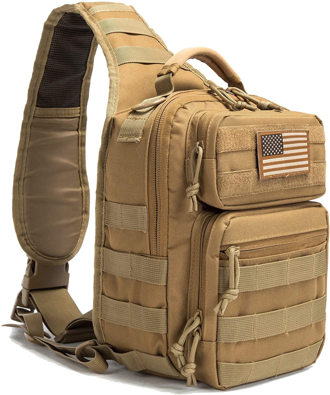 SHELCUP EDC Sling Bag Pack, Rover Shoulder Molle Backpack, with USA Flag Patch