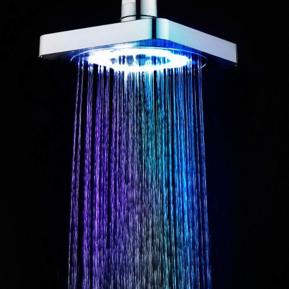 Shower Head 6 Modes Bath Shower Adjustable Jetting Shower Head High Pressure Saving water Bathroom Anion Filter LED Shower,6 Inch