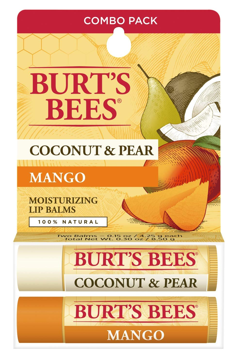 Burt's Bees 100% Natural Moisturizing Lip Balm, Coconut & Pear and Mango with Beeswax & Fruit Extracts - 2 Tubes, 2 Fl OZ