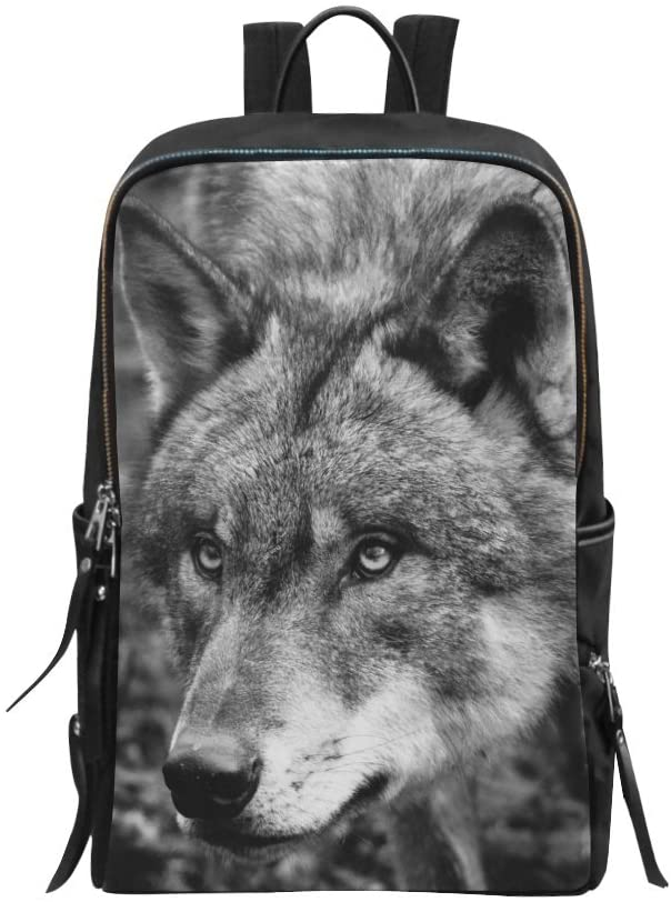 Bag Backpack Black and White Wolf Animal Daypack