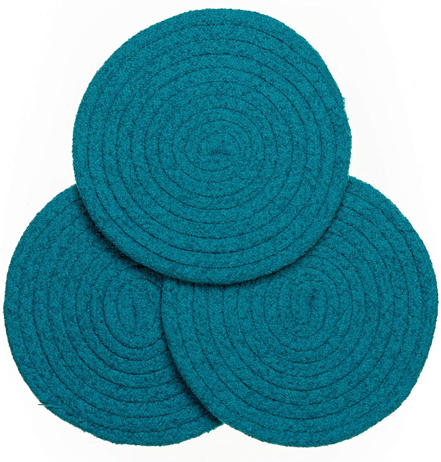 Kitchen Discovery 8 Chenille Trivets - Set of 3 (Teal)