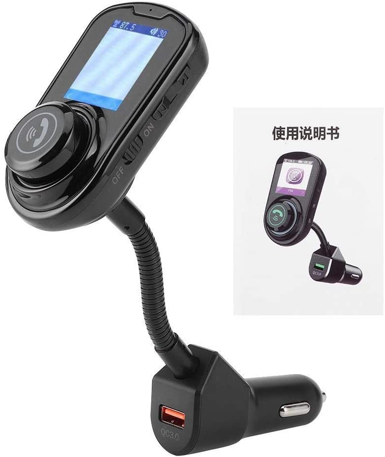 REOUG G45 Car MP3 Music Player Color Screen Bluetooth FM Transmitter Hands Free Calls(Black)