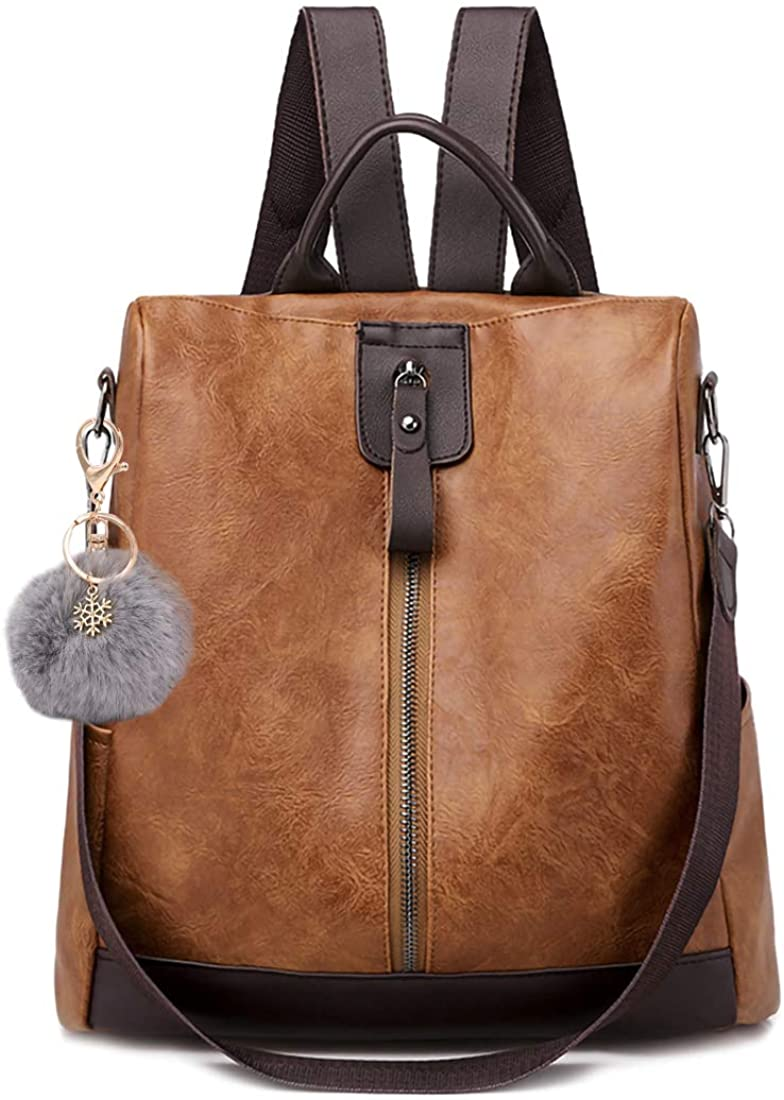 Backpack Purse for Women Anti-theft Travel Bag Leather Casual Rucksack Hiking Backpack Fashion Shoulder Bag Handbags with Pom Pom Keychain