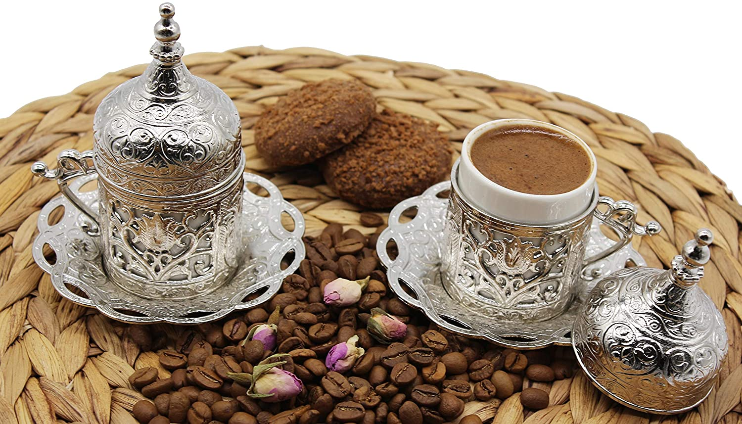 HeraCraft Set Of 2 Turkish Greek Arabic Moroccan Coffee & Espresso Cup with Inner Porcelain, Metal Holder, Saucer and Lid. 1 Cup Consists of 4 pieces & Handmade (Silver)