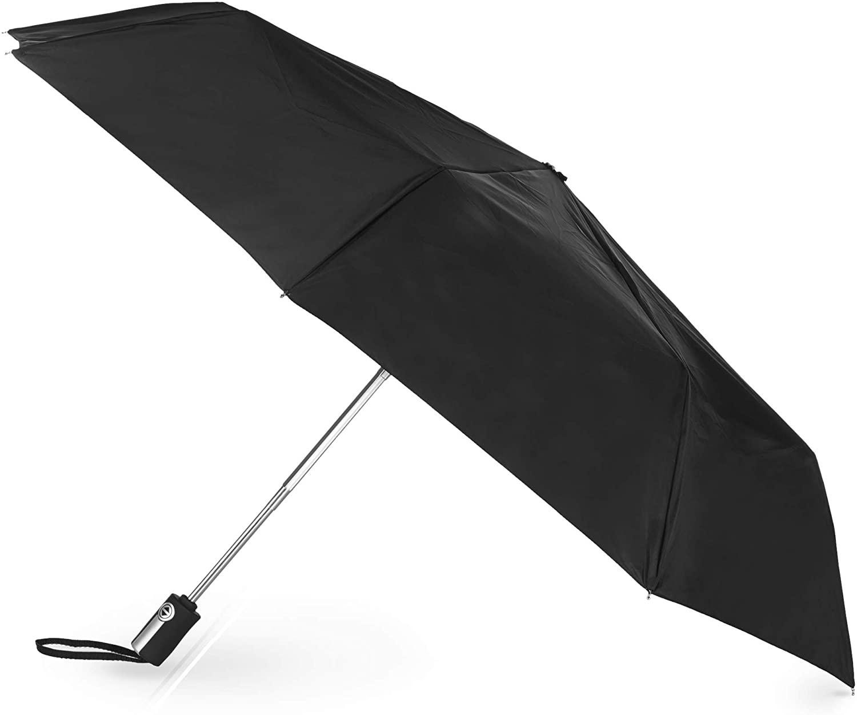 totes Auto Open/Close Umbrella, Black, One Size