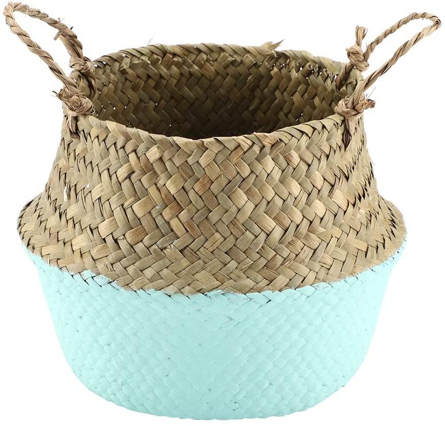 Folding Natural Woven Storage Organizer Flower Plant Pot Basket Home Decoration Farmhouse Style Display(Green)