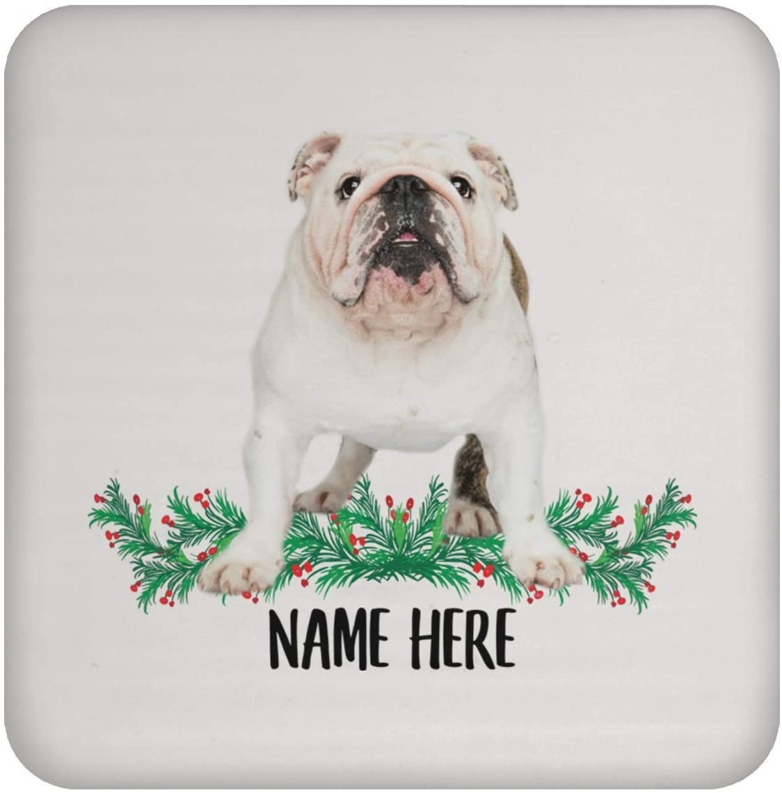Funny English Bulldog White Brindle Personalized Name Gift for Mom Coasters for Drinks