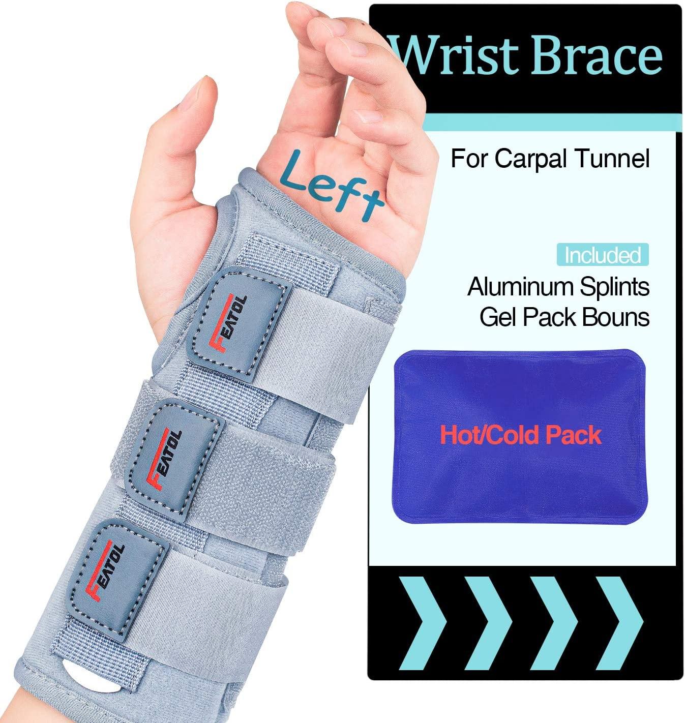 Carpal Tunnel Wrist Brace | Night Sleep Support Brace, Removable Metal Wrist Splint- Hot/Ice Pack, Left Hand, Medium/Large, Adjustable Hand Brace for Men, Women, Relieve and Treat Wrist Pain
