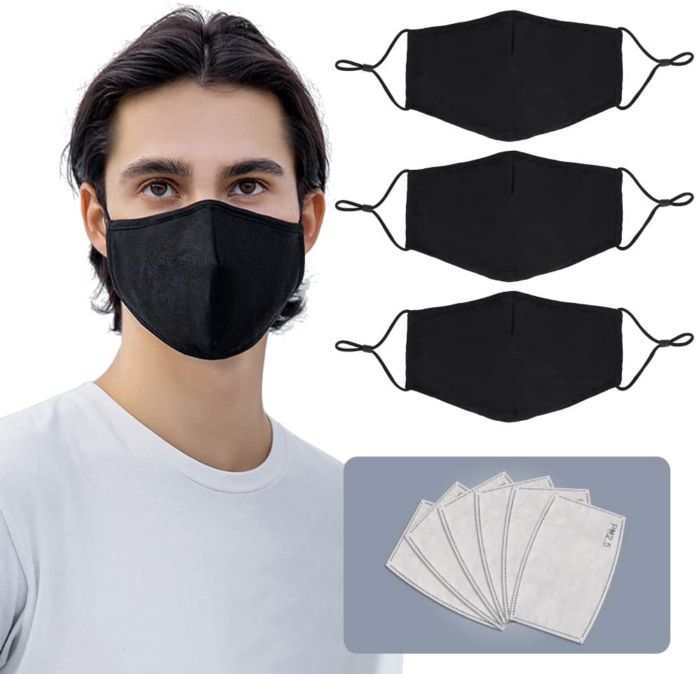 Face Mask Reusable for Men and Women,3 Pack Cloth Face Mask Washable with 6 Filters(Black Mask),Adult Adjustable Face Masks,Large Size.
