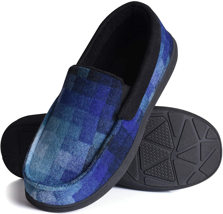 Homitem Men Slippers Memory Foam Moccasin Slipper Plaid Fleece Lined House Shoes w/Indoor