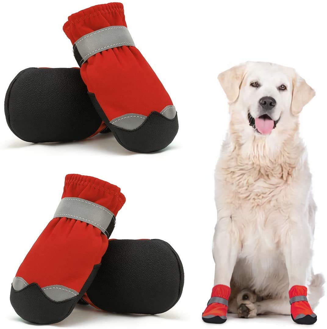 Dog Shoes for Large Medium Dogs Dog Booties Warm Lining with Adjustable Straps and Rugged Anti-Slip Sole Paw - Dog Boot Sports Running Hiking Pet Dog Boots - Protectors Comfortable Easy to Wear