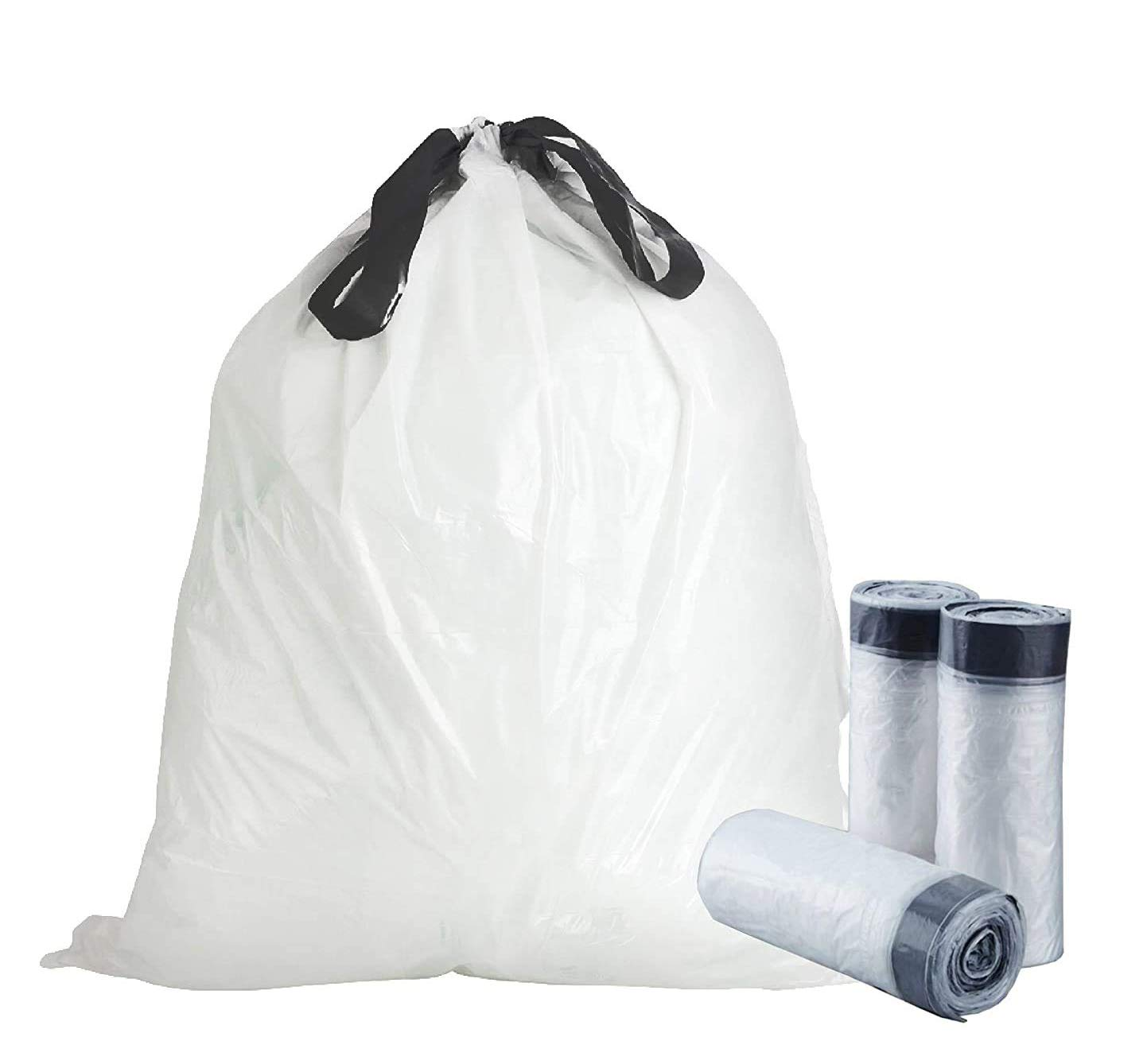 APQ Pack of 100 Clear Liners with Draw Tape 40.5 x 45.5. Ultra Thin Design 1 mil 55 Gallon Linear Low Density Polyethylene Bags 40.5x45.5 Side Sealed Unprinted Poly Bags for Disposing Waste, Schools.