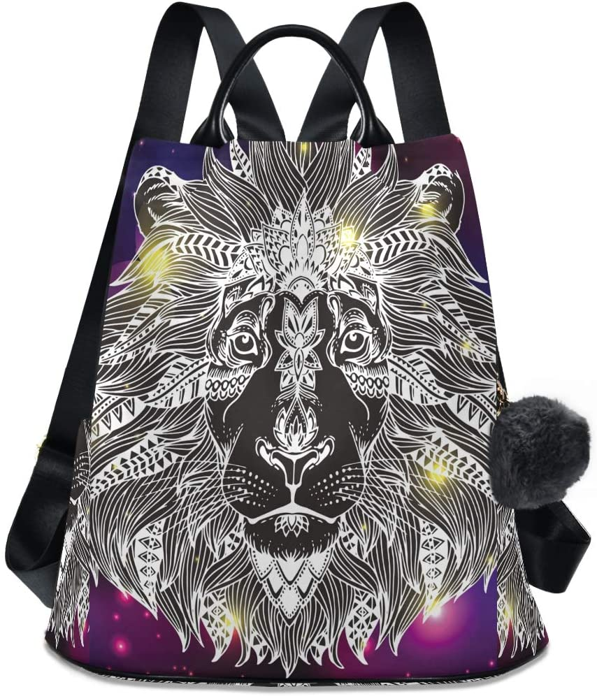 ALAZA Animal Head Print Backpack with Keychain for Woman Ladies