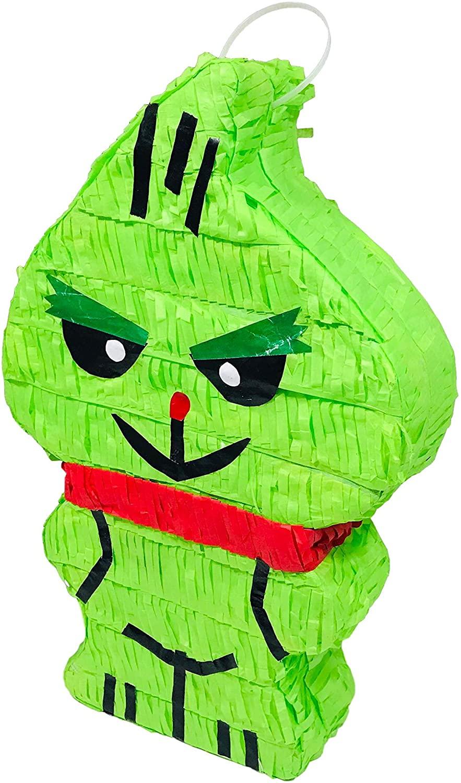 Aurabeam Small Green Grump Grinch Tissue Paper Mexican Pinata for Christmas Posada Xmas Kids Adults Birthday Party Theme Fun Seasonal Holiday Photo Shoot Decoration