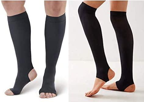 Open Toe and Open Heel Compression Socks Premium Calf Compression Sleeve 2 Pair Long and Short Medias de compresion