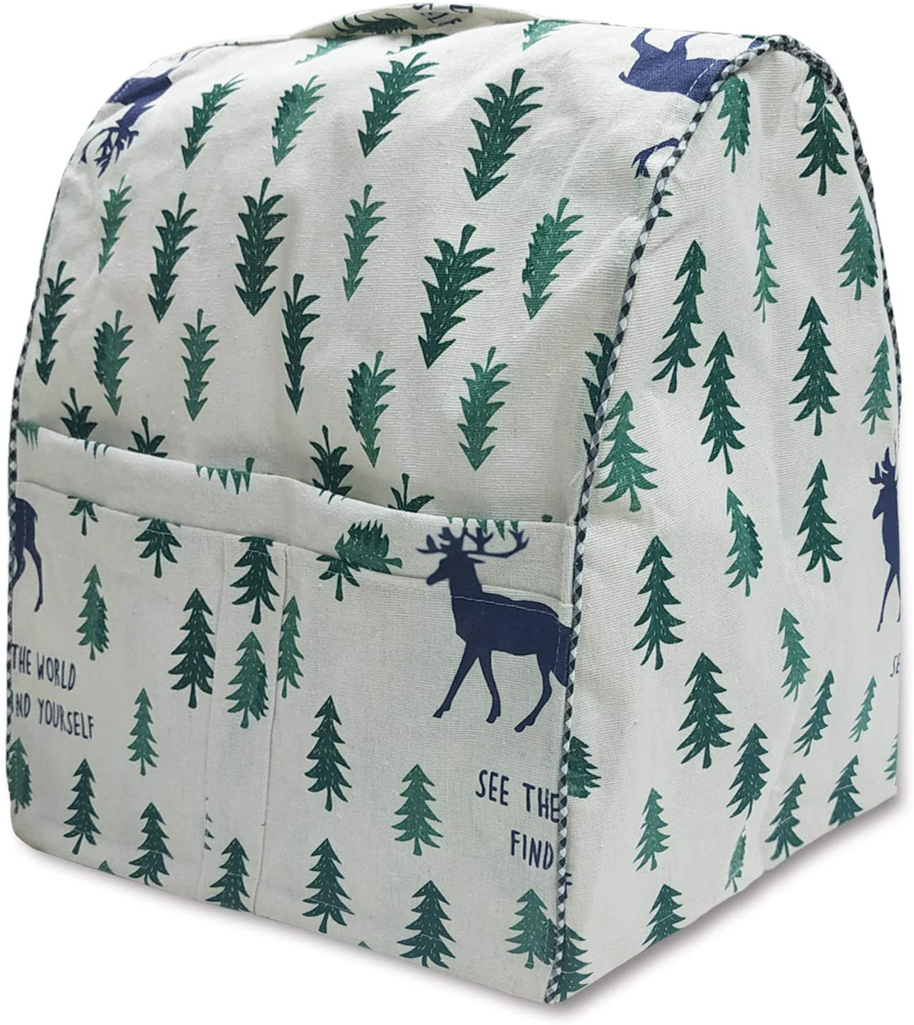 STARTWO Stand Mixer Dust Cover with Pocket, Compatible with Kitchen Aid Mixer, Fits 6-8 Quart All Tilt Head & Bowl Lift Models (W14xD11xH17in)-Deer Forest