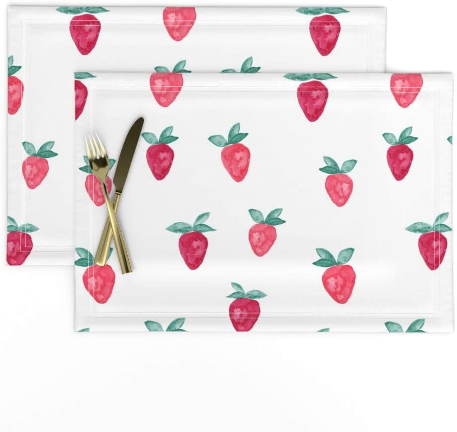 Roostery Cloth Placemats, Strawberry Whimsical Fruit Trendy Summer Print, Linen-Cotton Canvas Placemats, Set of 2