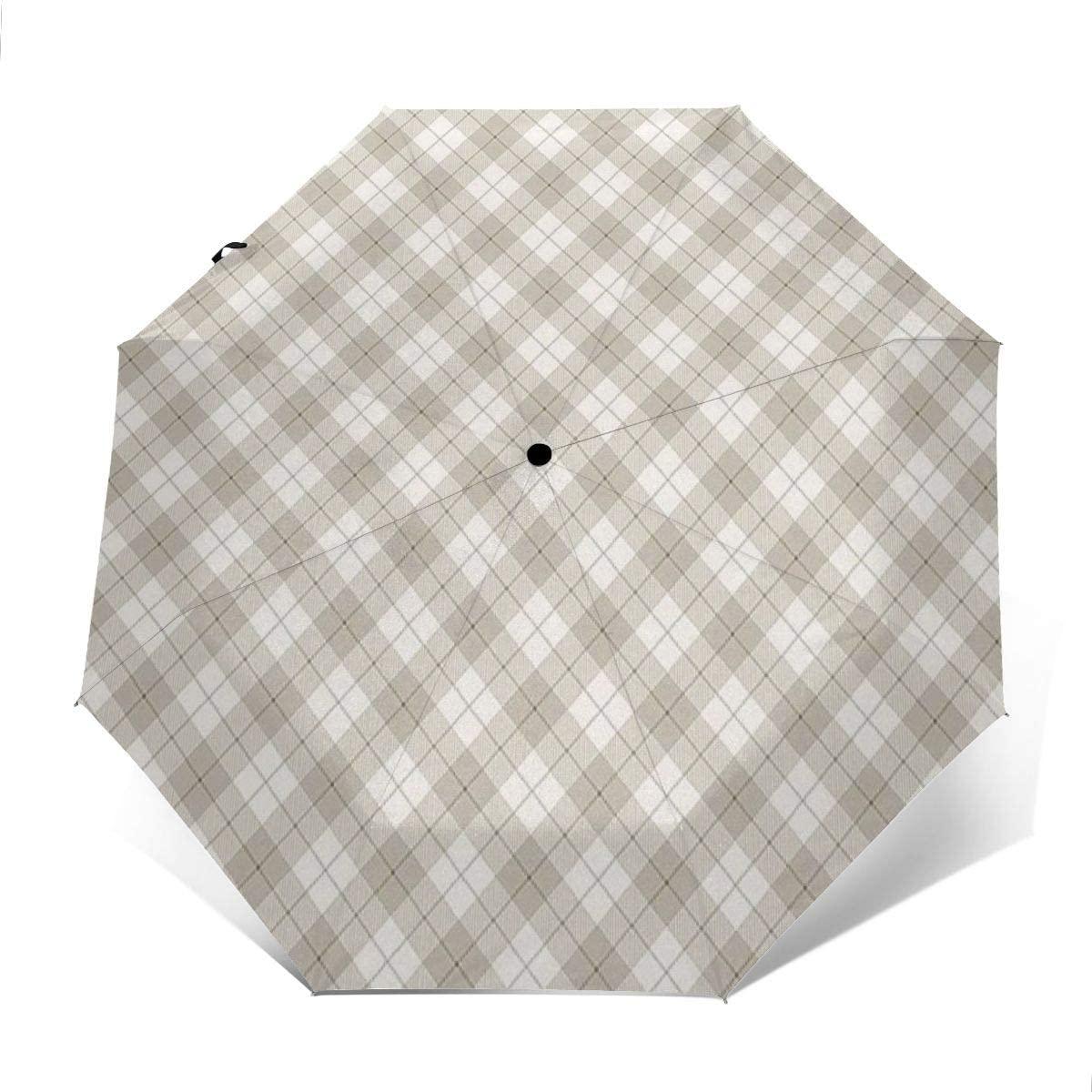 Auto Open and Close, Self Closing, Sun Rain Outdoor Umbrella - Diagonal Plaid Pattern Geometric Simplistic Checked And Striped Tile