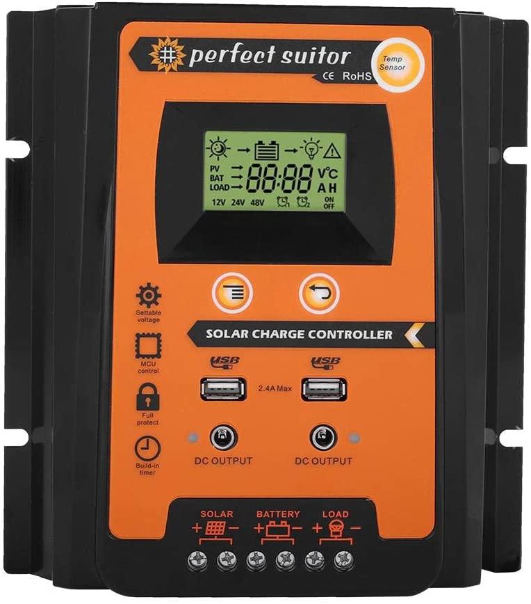 Gorgeri 12V/24V 30A 50A Premium MPPT Solar Charge Controller Solar Panel Battery Regulator Dual USB LCD Display (50A)