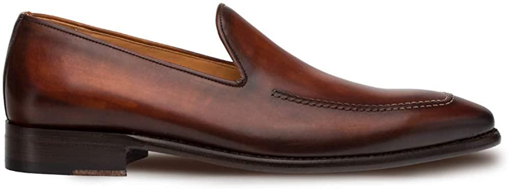 Mezlan Curtana - Mens Luxury Dress Slip Ons - Hand Burnished Venetian Style Loafer - Handcrafted in Spain - Medium Width (Cognac, 8.5)