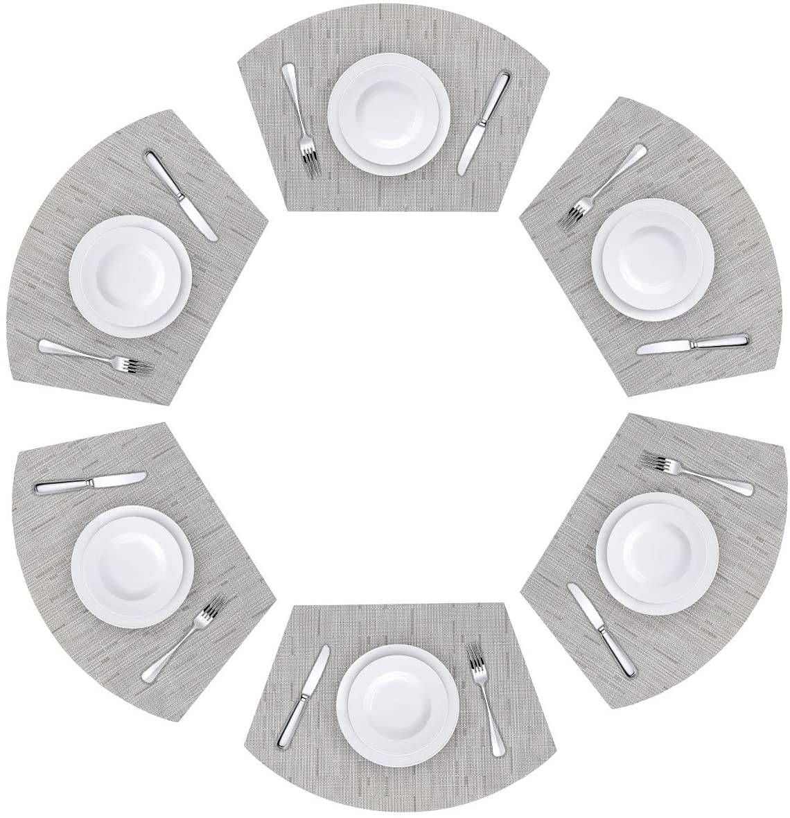 Viomir Round Table Placemats Wedge Placemats Set of 6 Heat Resistant Table Mats Washable (Beige)