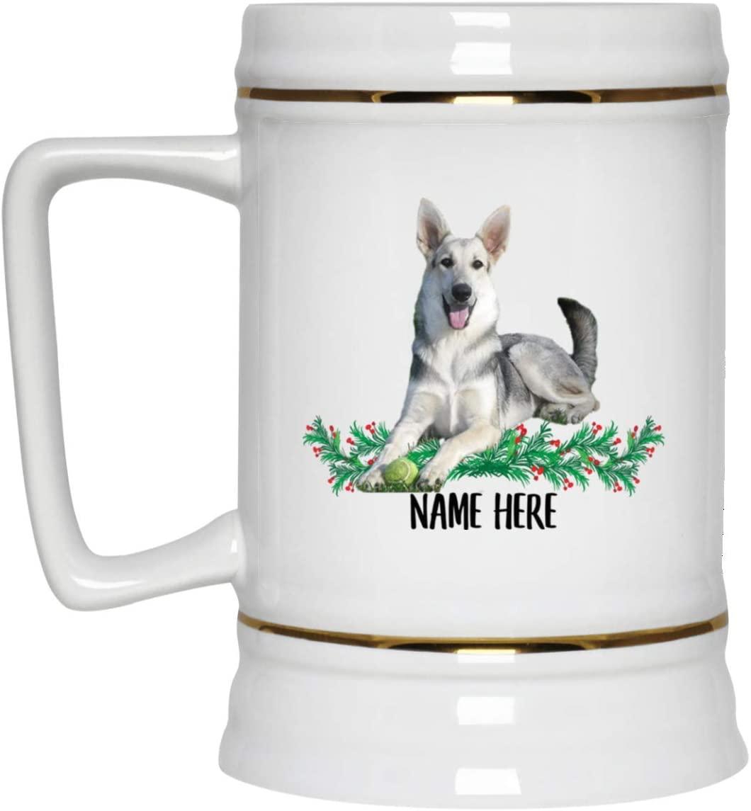 Funny Personalized Gifts German Shepherd Silver Beer Stein Mug for Men Ceramic 22oz