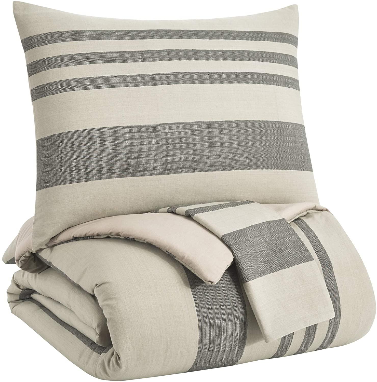 Signature Design by Ashley Q701003Q Queen Comforter Set, Natural/Charcoal 3 Pieces