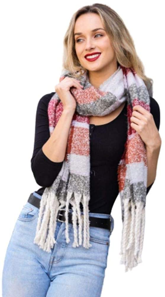 Soft Oversized Wide Striped Tassel fall scarf for women plaid edge Infinity Loop