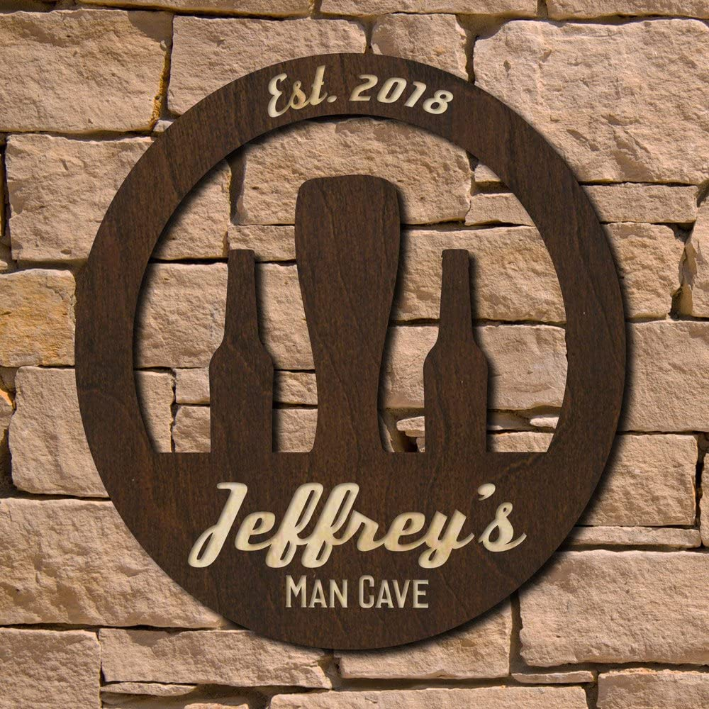 HomeWetBar Retro Personalized Man Cave Sign (Signature Series)