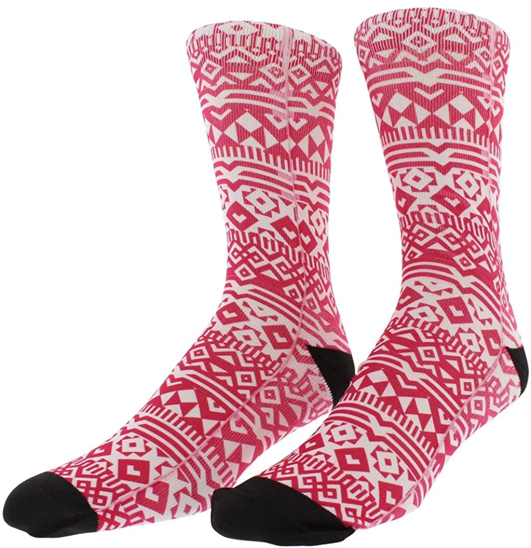 Sof Sole Mens Breast Cancer Awareness Digital Design Crew Socks Pink L