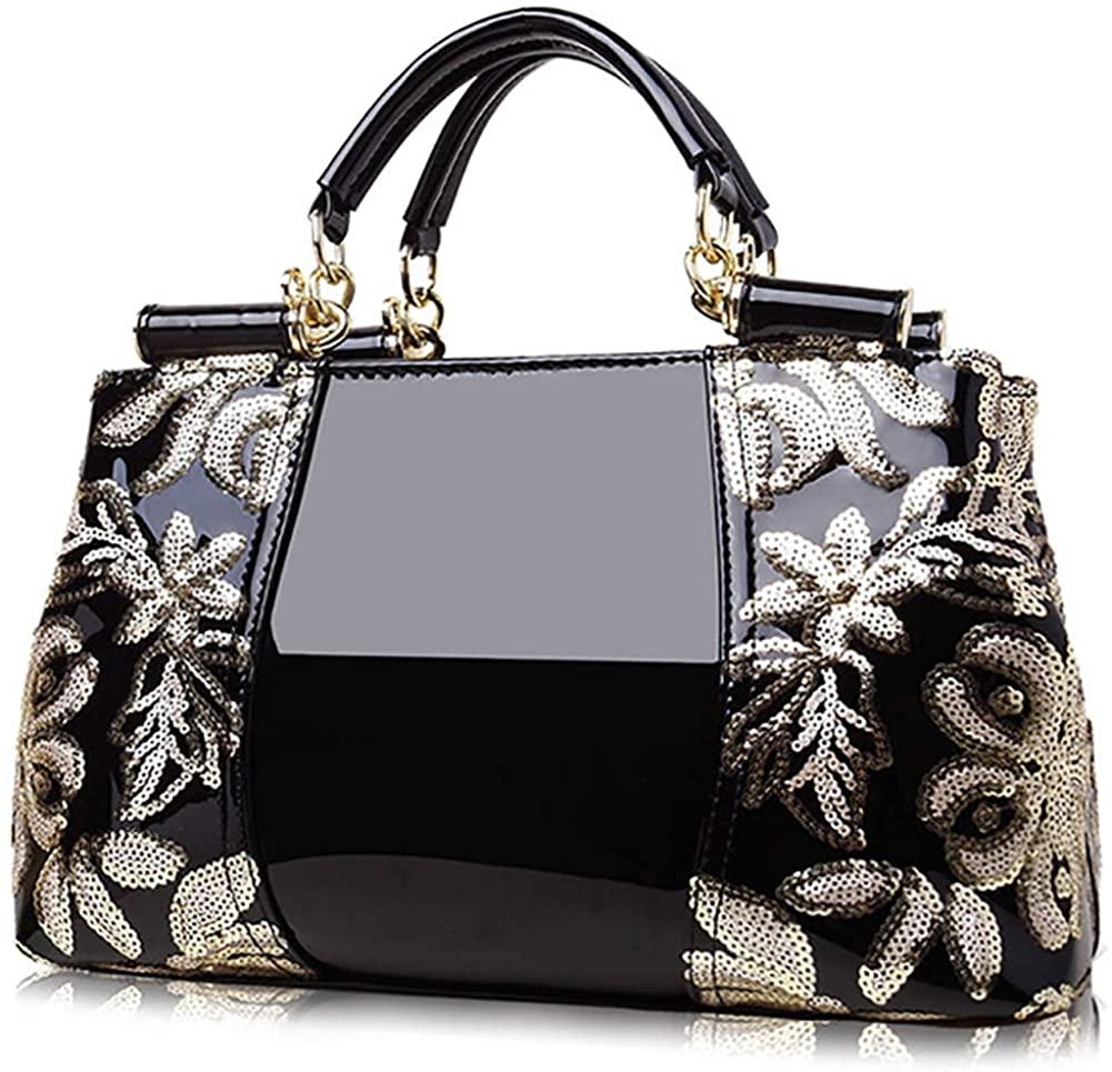 Hycurey Women Handbag Purse Crossbody Shoulder Bag Faux Patent Leather Top Handle Handbags Evening Party Satchel