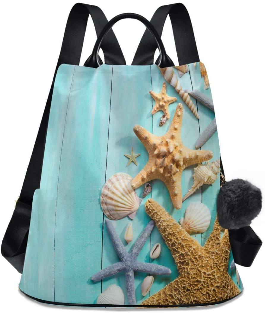 ALAZA Colorful Starfish and Seashells Backpack Purse Anti-theft Casual Fashion Polyester Travel Rucksack Shoulder Bag for Women Girls