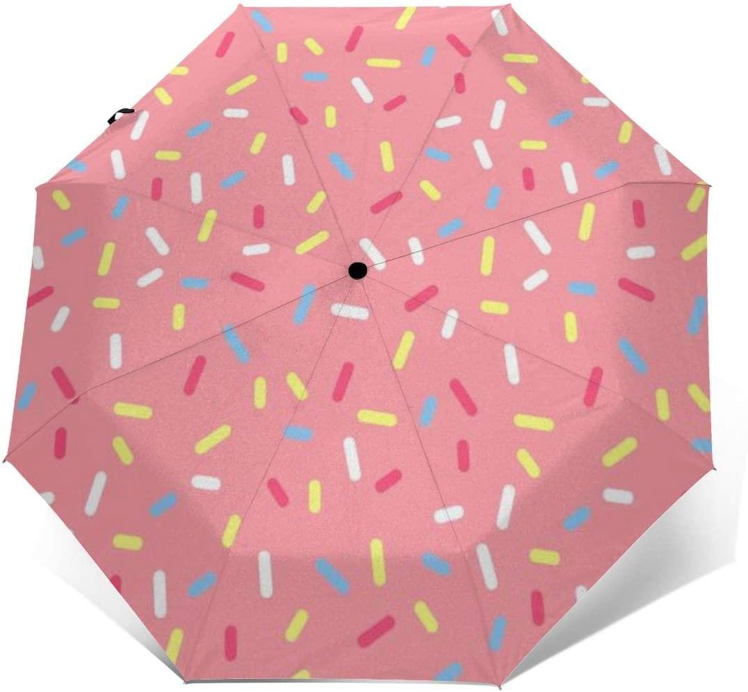 Travel Sun&rain Umbrella - Light Compact Parasol with UV Protection for Men Women Multiple Colors, Donut Pink
