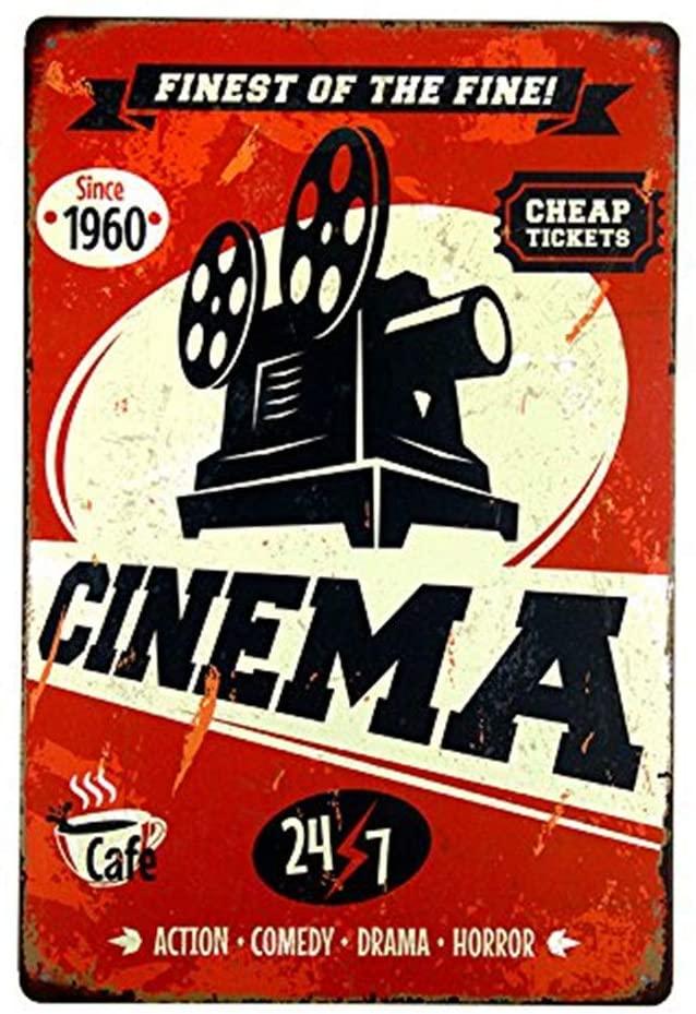 MAIYUAN Metal Plate Vintage Garage Wall Art Poster Cinema Sign Home Decor, Cinema Rustic Wall Decor, 8x12 Inches(M0077)