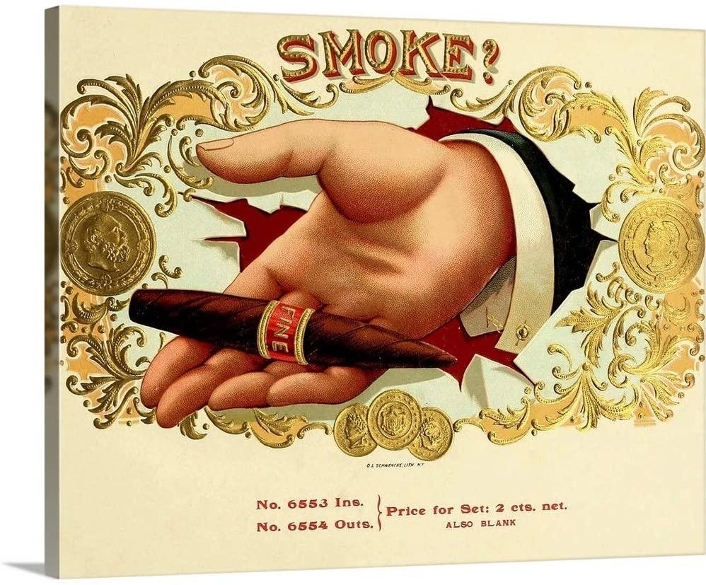 Smoke! - Vintage Cigar Box Canvas Wall Art Print, 20x16x1.25