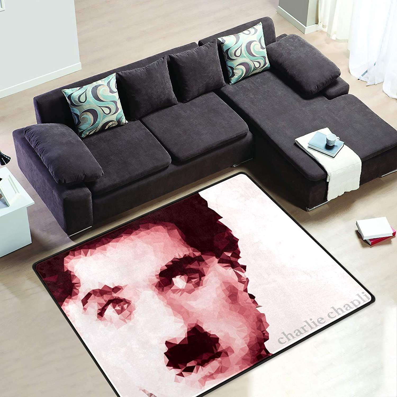 Charlie Chaplin Background 6' x 4' Area Rug Short Pile Velvet Modern Carpet Super Soft Mats Rectangle Floor Rugs for Bedroom Living Room Kitchen Home Decoration