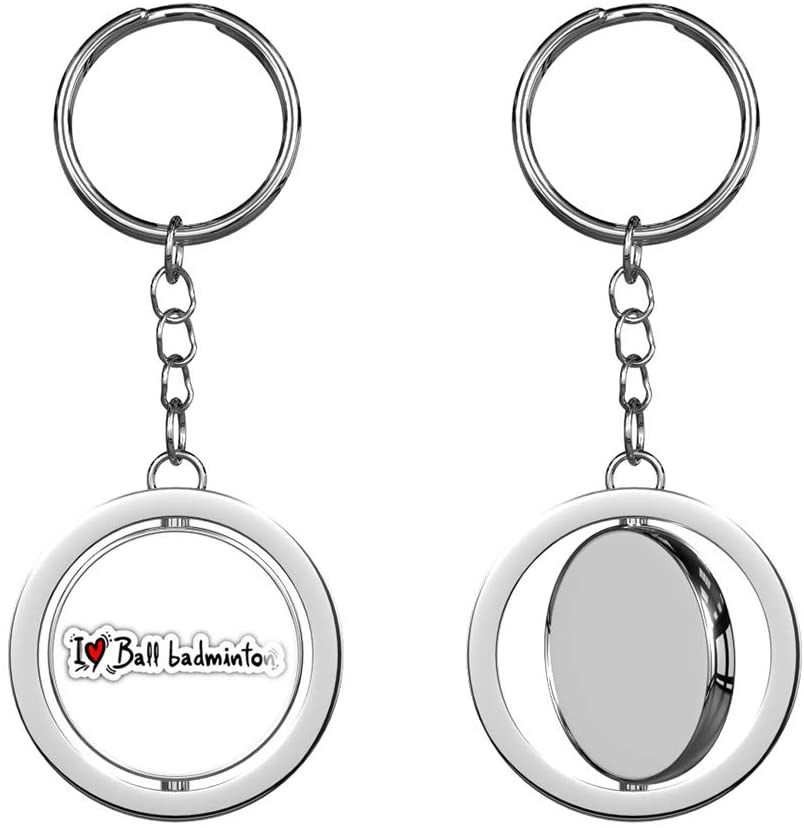 I Love Ball Badminton Round Spinning Stainless Steel Metal Key Chain Keychain Ring Double Sided Deisgn