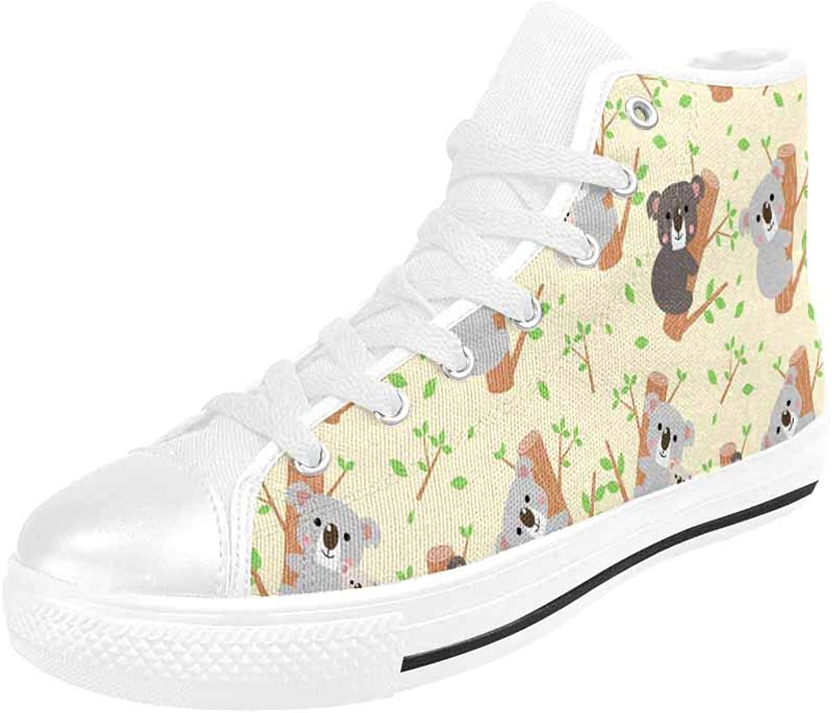 InterestPrint Adjustable High Top Canvas Shoes with Metal Eyelets and Soft Lining Cute Frogs and Crowns