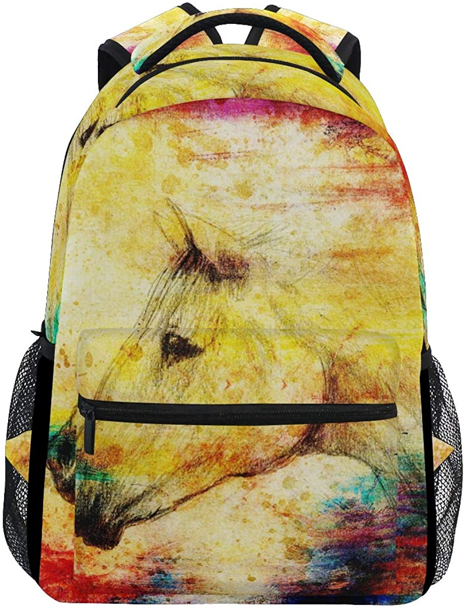 School Backpack Vintage Horse Bookbag for Boys Girls Teens Casual Travel Bag Computer Laptop Daypack
