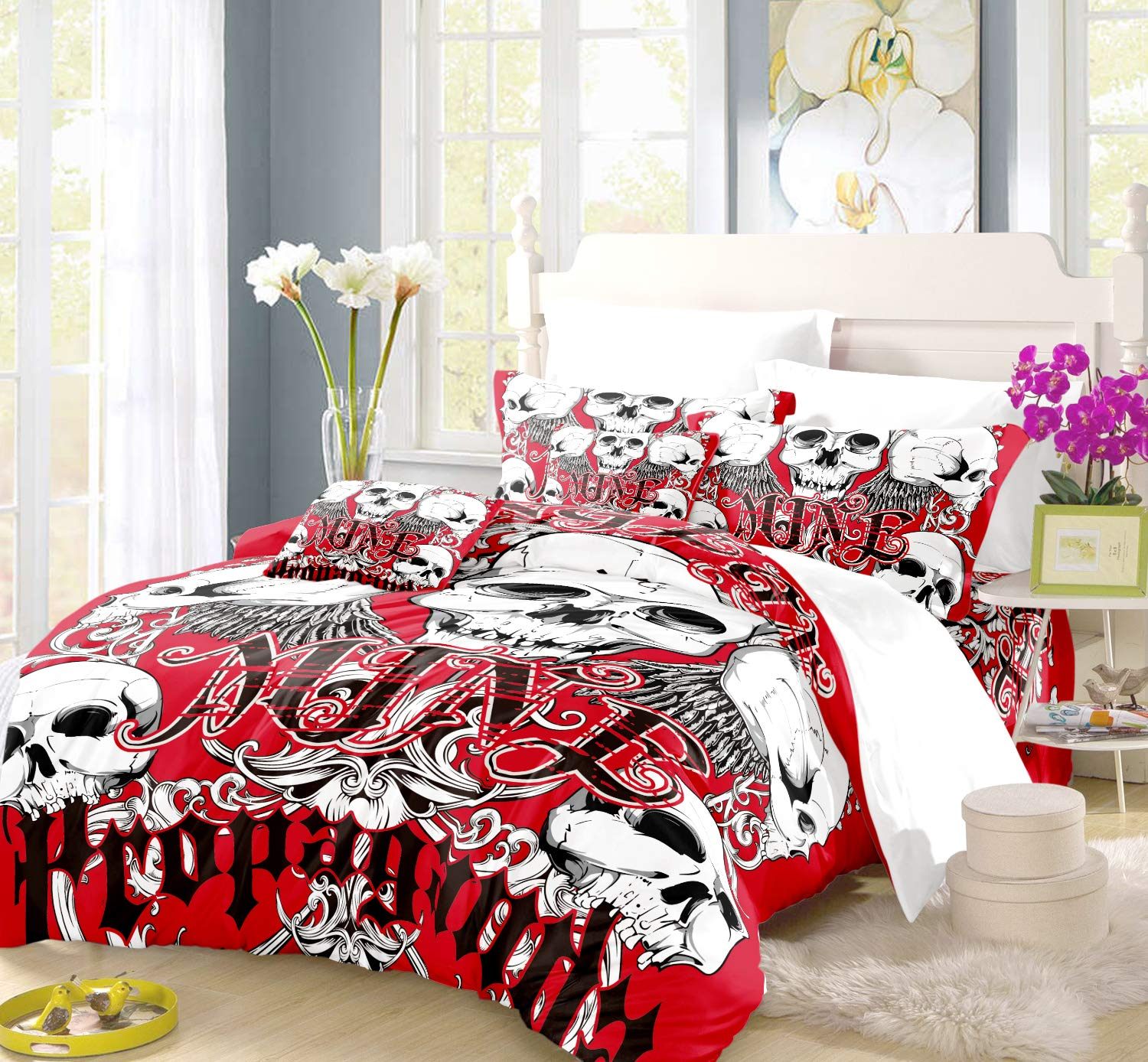 REALIN Halloween Bedding Skull in Flame Duvet Cover Set Horror Double Gun Red Rose Bed Sets,2/3/4PCS Microfiber Quilt Covers/Sheets/Pillow Shams,Twin/Full/Queen/King Size