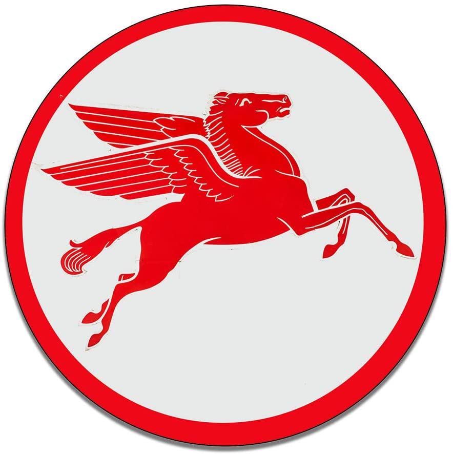 Brotherhood Mobilgas Pegasus Sign Mobiloil Motor Oil Gasoline Petroleum Products Reproduction Car Company Garage Signs Metal Vintage Style Decor Metal Tin Aluminum Round Sign Home Decor
