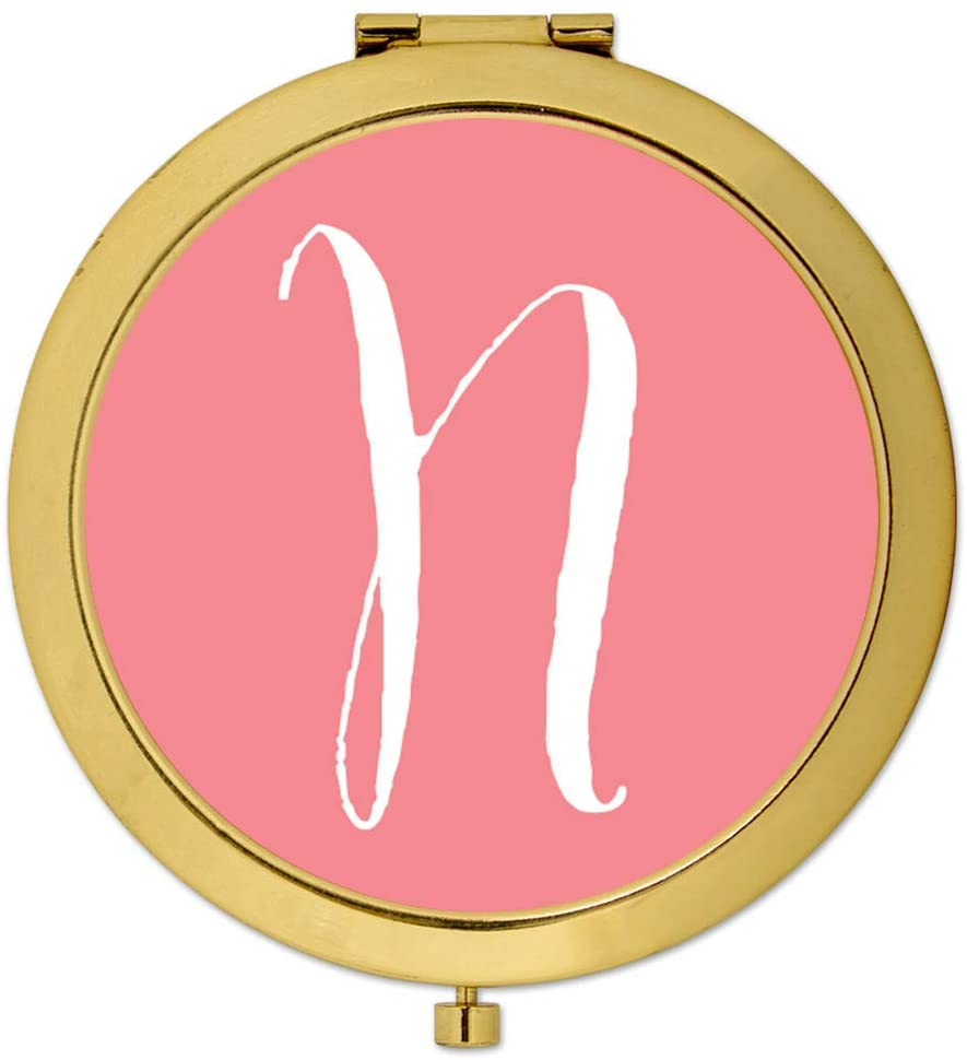 Andaz Press Gold Compact Mirror Bridesmaid's Wedding Gift, Coral, Monogram Letter N, 1-Pack, Bachelorette Bridal Shower Wedding Party Gifts