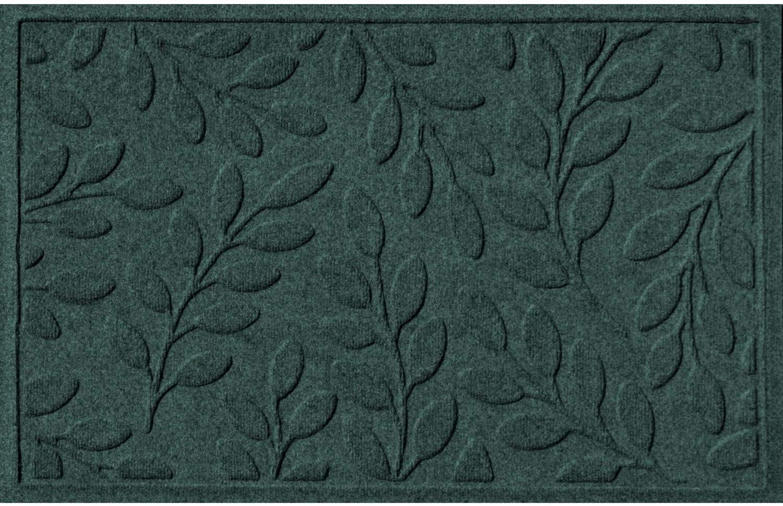Bungalow Flooring Waterhog Door Mat, 2' x 3' Made in USA, Durable and Decorative Floor Covering, Skid Resistant, Indoor/Outdoor, Water-Trapping, Brittney Leaf Design, Evergreen